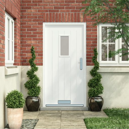 Cottage style front door in white installed into a house