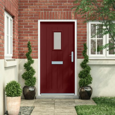 Cottage style door in wine red with a rectangle glazing panel