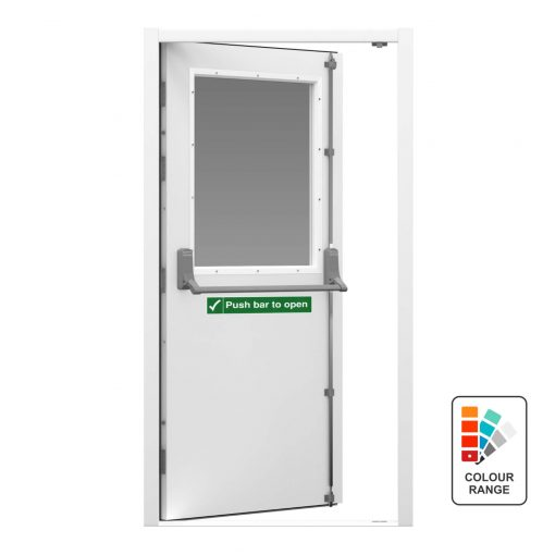 White security fire exit door with half panel glazing and a push bar to open sticker