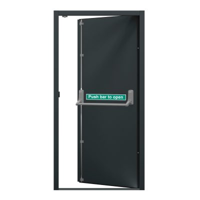 internal view of an anthracite grey fire exit door