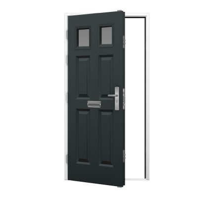 anthracite grey panelled door leaf with glazing panels with a white door fame