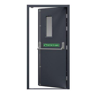 slate grey fire exit door with glazing panel.