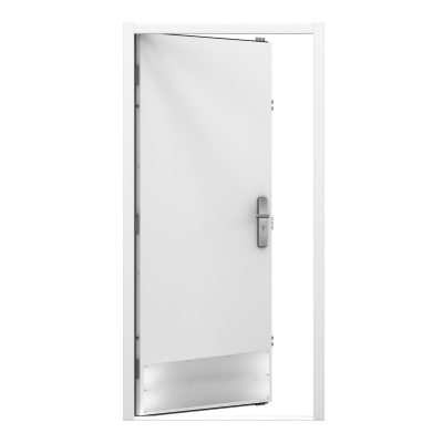 white steel door showing a large kick plate at the bottom of the door