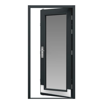 steel door with a fully glazed panel and a kick plate installed