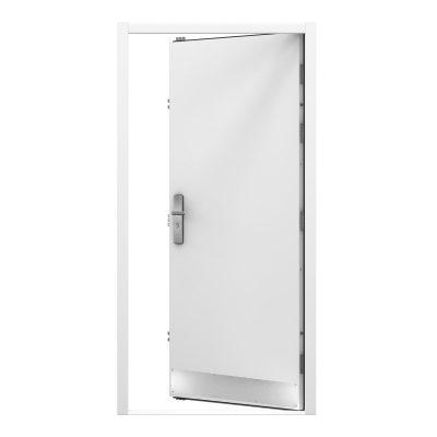 inwards facing steel door with a kick plate installed