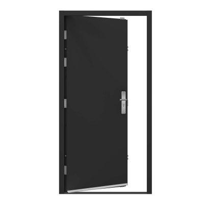 jet black steel door showing rain drip installed