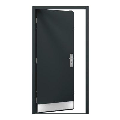 Anthracite grey steel door with kick plate