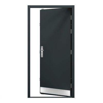 Inside view of a grey steel door showing a kick plate