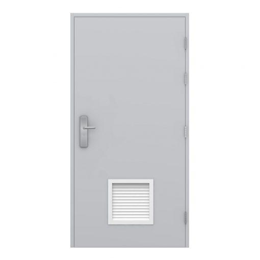 Steel door showing the louvre panel at the bottom of the door