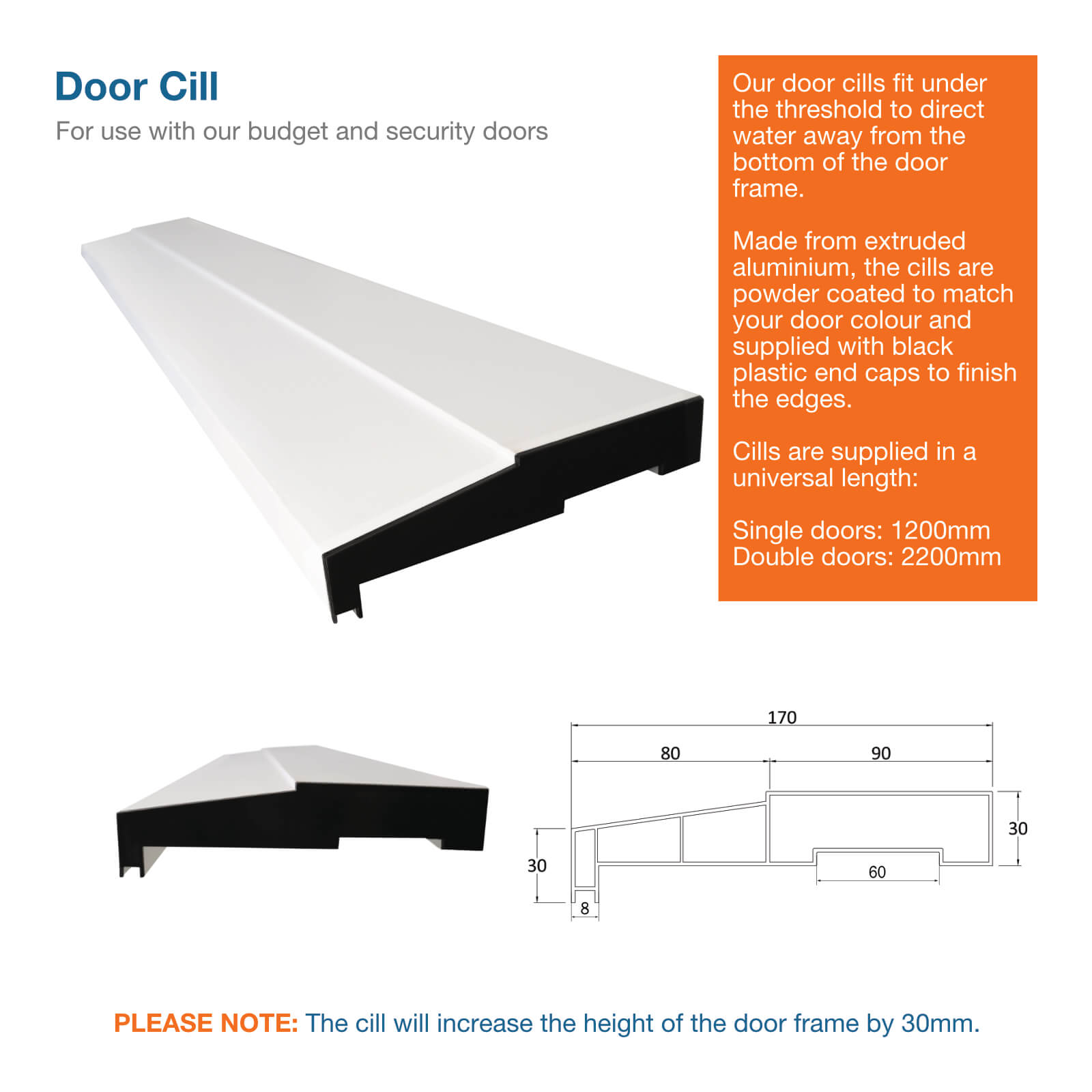 Image showing elevations and dimensions for a steel door cill
