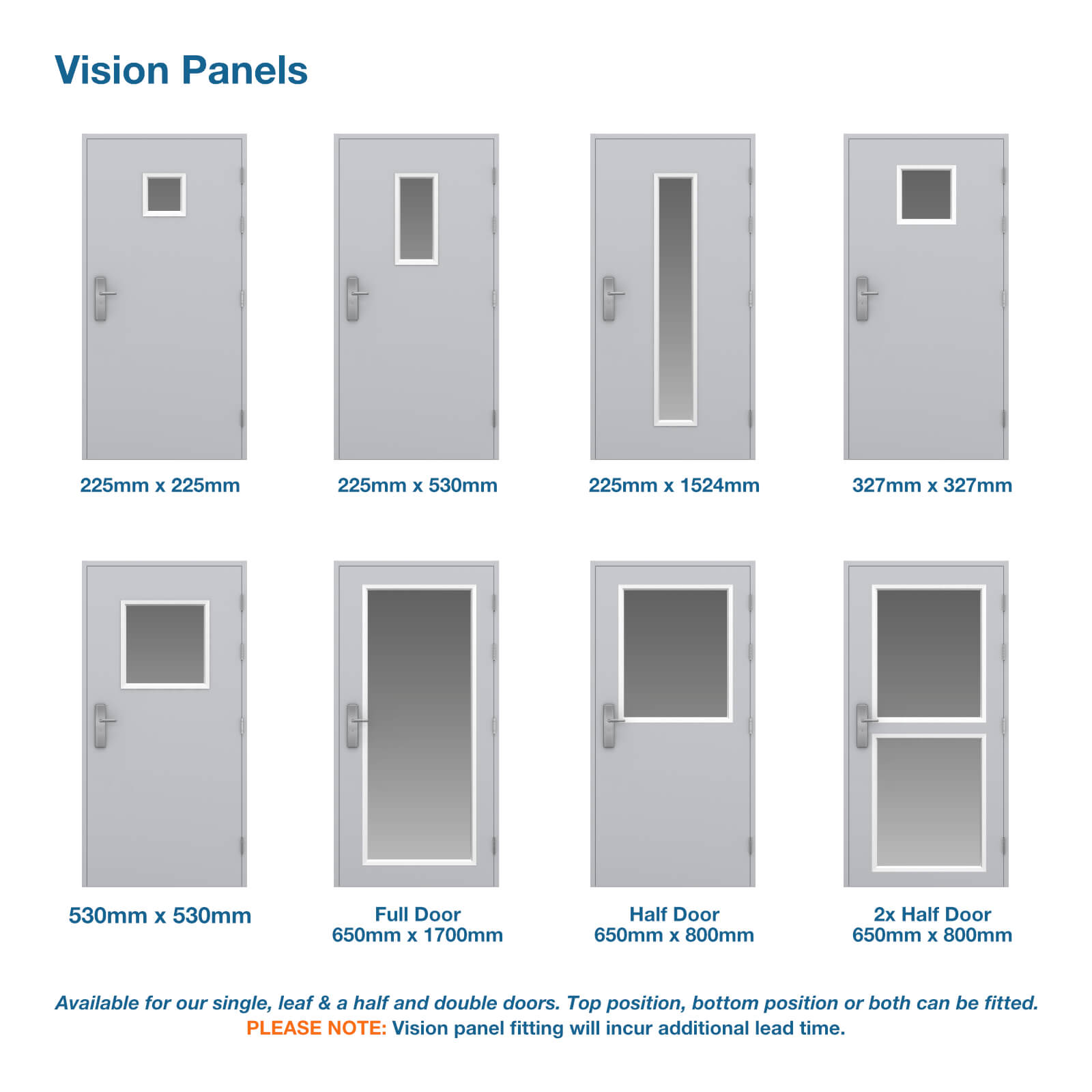 8 doors showing the glazing panel options available to order