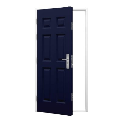 cobalt blue panelled door with white frame