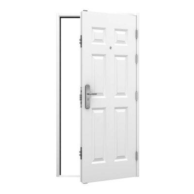 panelled white steel door with a door viewer