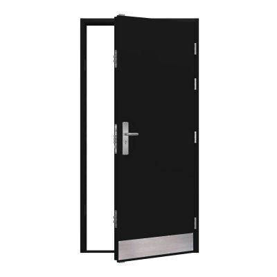 black steel door with a kick plate