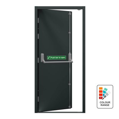 Grey personnel door with emergency access