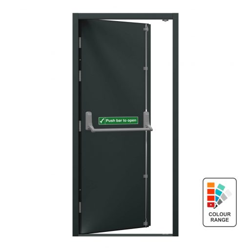 Grey personnel door with emergency access