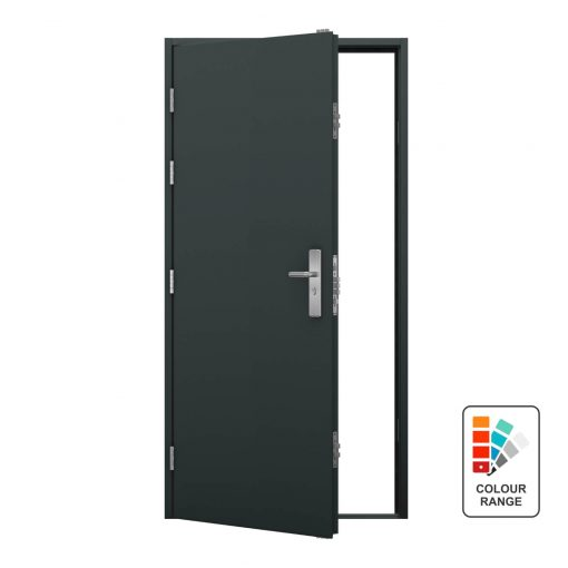 Grey steel door