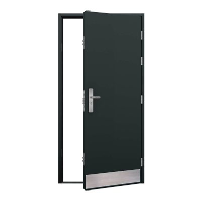 grey steel door with kick plate