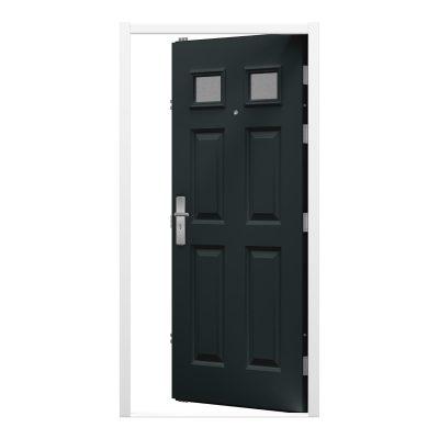 Panelled grey door with a white door frame
