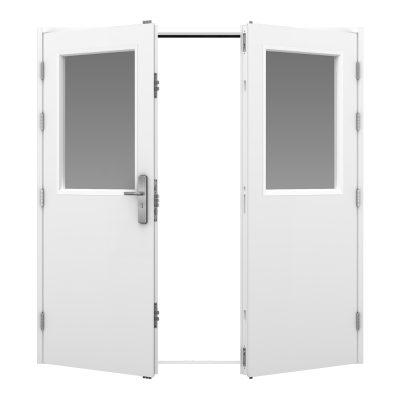 White glazed double steel door