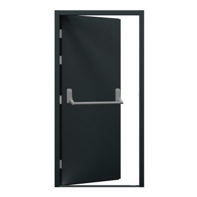 Grey blank steel door with push bar
