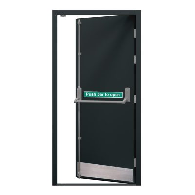 Grey fire exit door with a kick plate