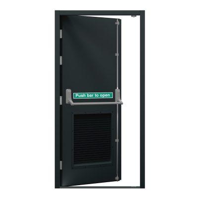 grey security fire exit door with louvre panel