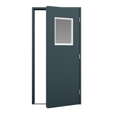 Grey shipping container door with glazing panel white frame