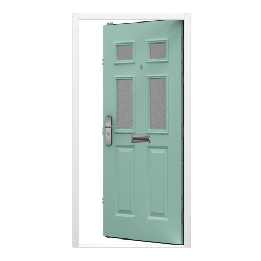 green panelled front door with glazing, letterbox and spy hole