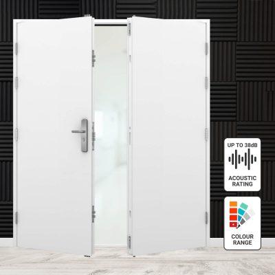 Acoustic double steel door range