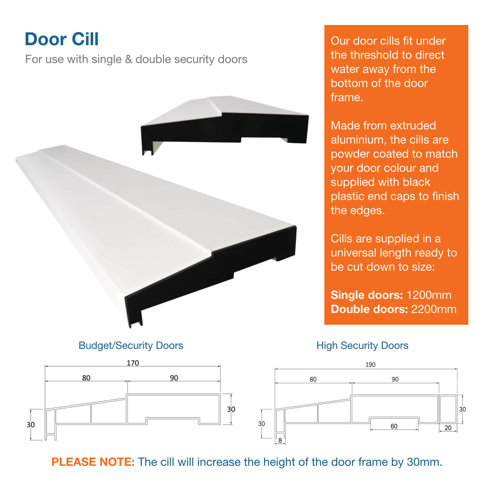Image showing elevations and dimensions for door cill