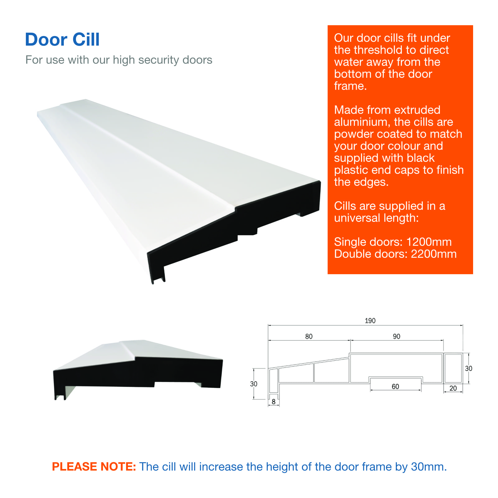 Image showing elevations and dimensions for a high security steel door cill