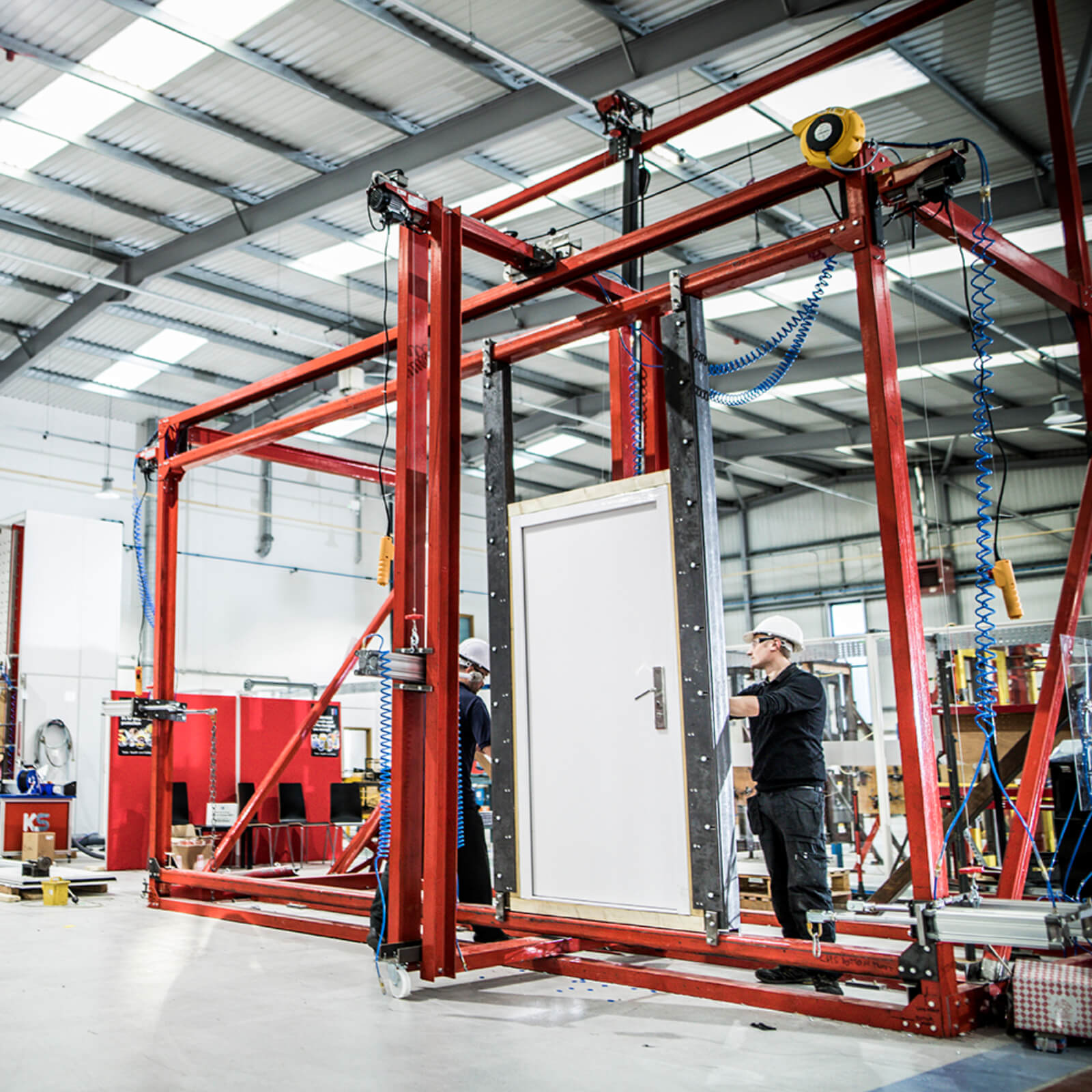 door being certified in a testing facility