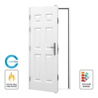 Left hinged opening out fire rated door