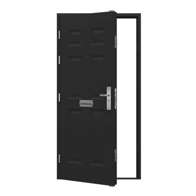 Black panelled steel door with letter box installed