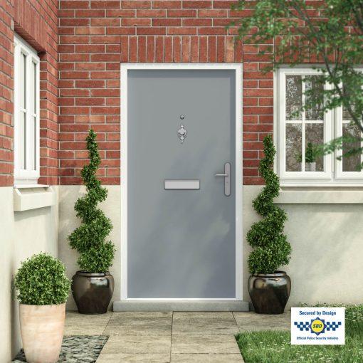 Grey front door installed in a building