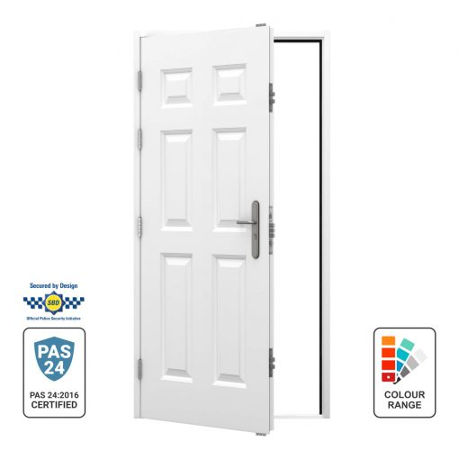 Left hinged opening out panelled door