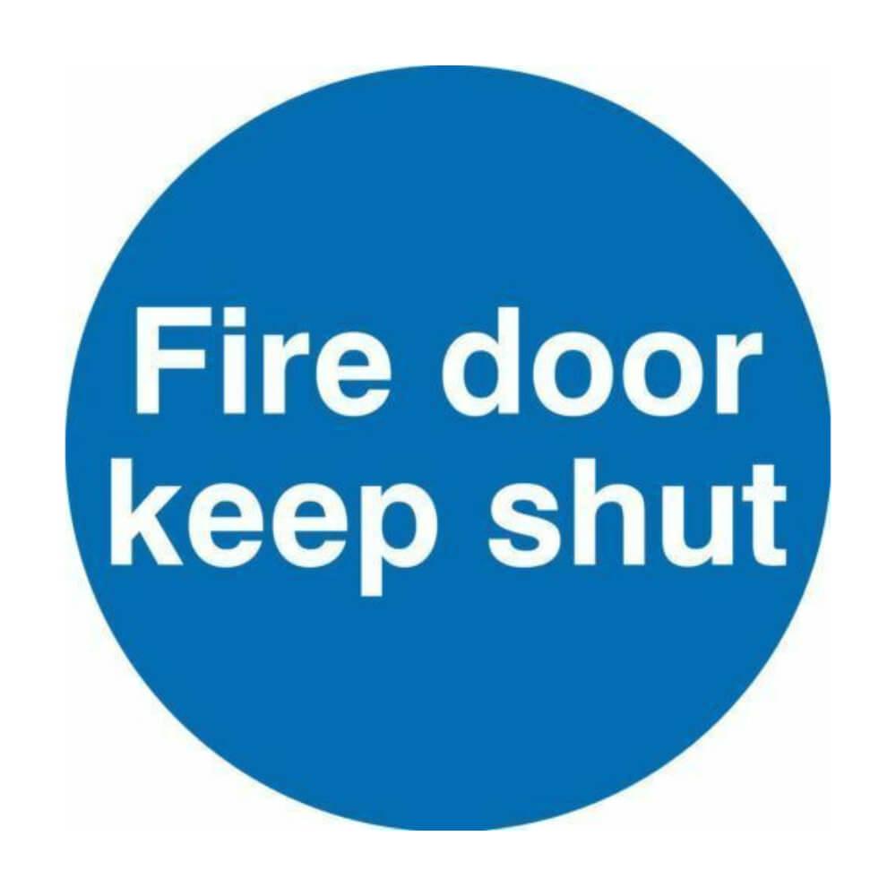 Example of a fire door keep shut sticker