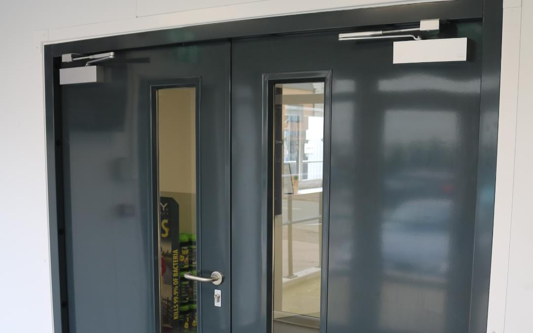 Anthracite grey fire rated double door