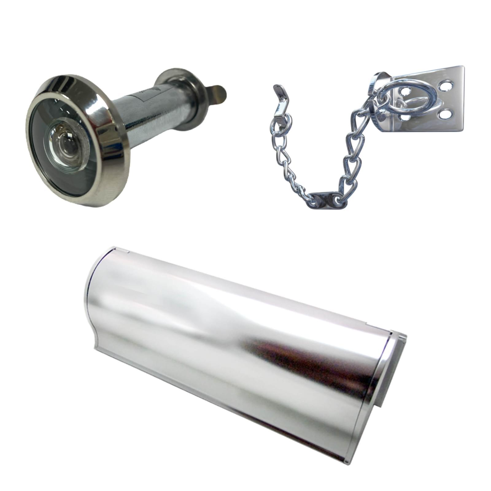 security door viewer, door chain and letterplate