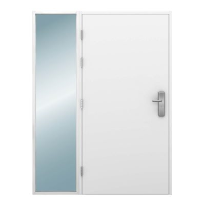Glazed side light on left side of a steel door