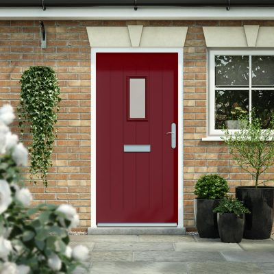wine red cottage style door with glazing panel in a house