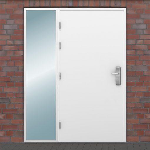 Glazed side light fitted on left side of a steel door