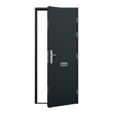 anthracite grey steel door with letterbox in the middle