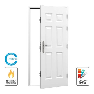 white panelled fire rated door