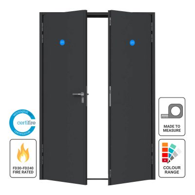 Custom made steel fire double door