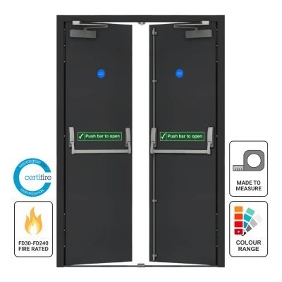 Custom made fire rated double fire exit door