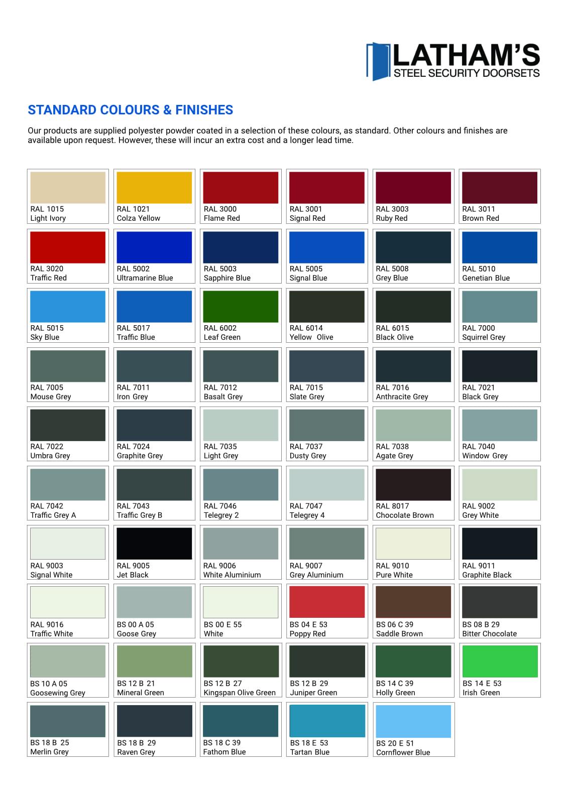 Colour chart for bespoke steel doors