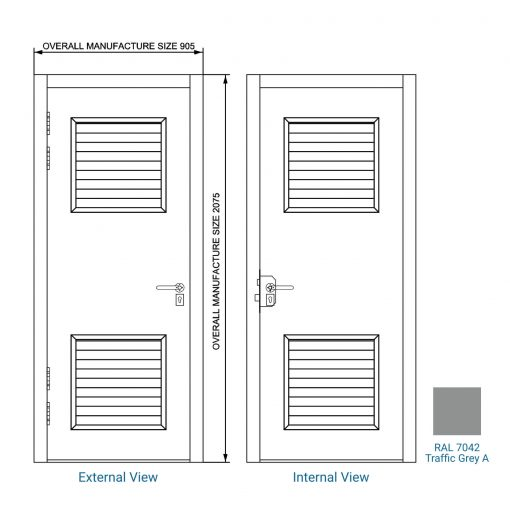 Diagram of a steel door with colour swatch