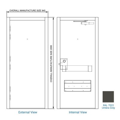 Diagram of a steel door with colour swatch